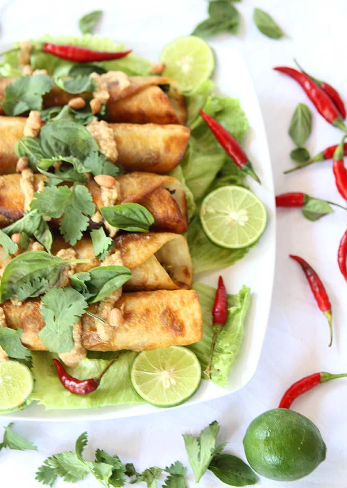 Thai Cauliflower and Sweet Potato Flautas with Spicy Peanut Sauce | thekitchenpaper.com