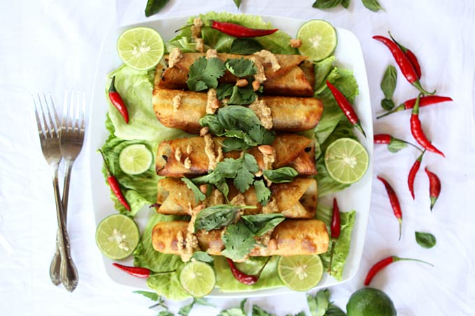 Thai Cauliflower and Sweet Potato Flautas with Spicy Peanut Sauce