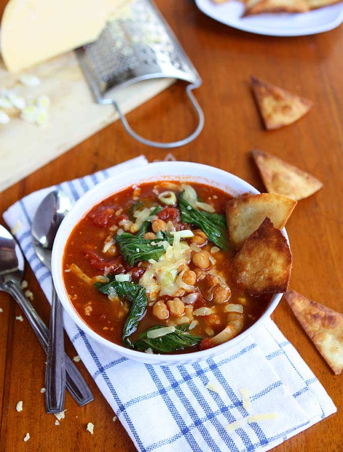Bok Choy, Chickpea, Tomato Stew with Homemade Tortilla Chips and Gouda | thekitchenpaper.com