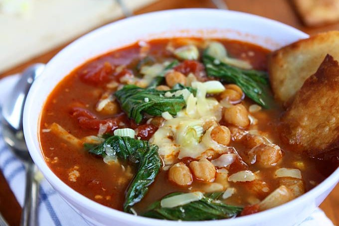 Bok Choy, Chickpea, Tomato Stew with Homemade Tortilla Chips and Gouda