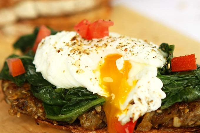 Dukkah Potato & Spinach Toast with Poached Eggs