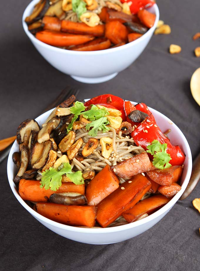 Sesame Soy Soba Noodles with Blackened Veggies and Garlic Chips