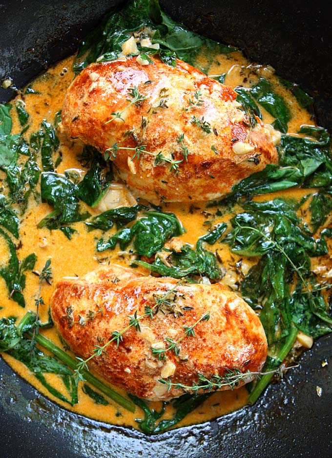Paprika Chicken Amp Spinach With White Wine Butter Thyme