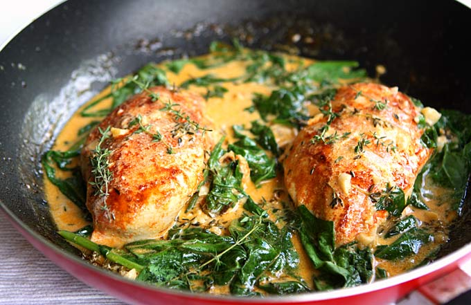 Paprika Chicken Spinach With White Wine Butter Thyme Sauce Recipe