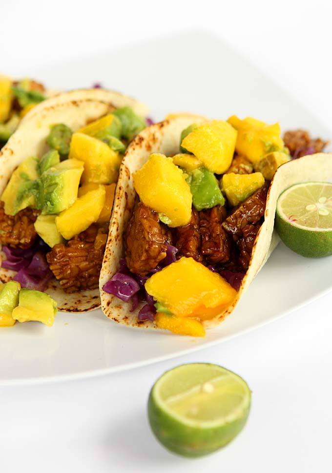 Honey Soy Tempeh Tacos with Mango Avocado Salsa