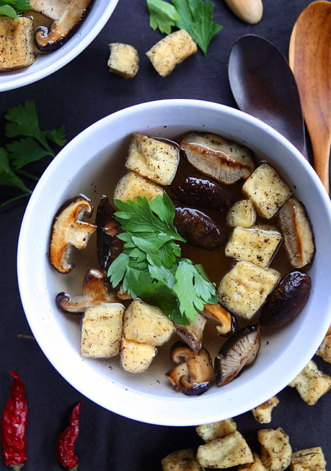 Black Pepper Tofu and Shiitake Mushroom Soup with Ginger Lemongrass Broth | thekitchenpaper.com