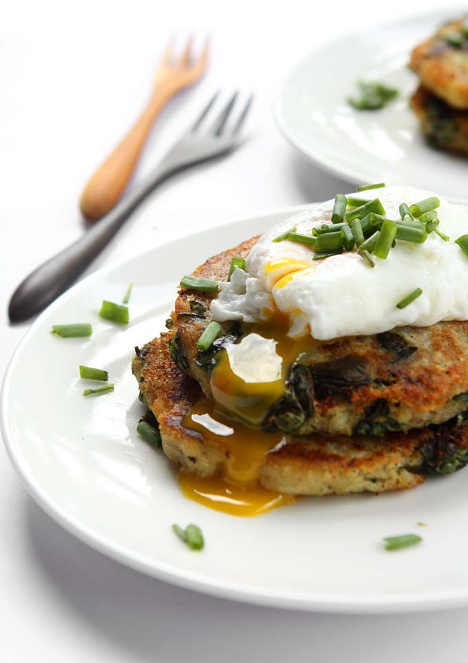 Garlic Spinach Potato Pancakes with Poached Eggs