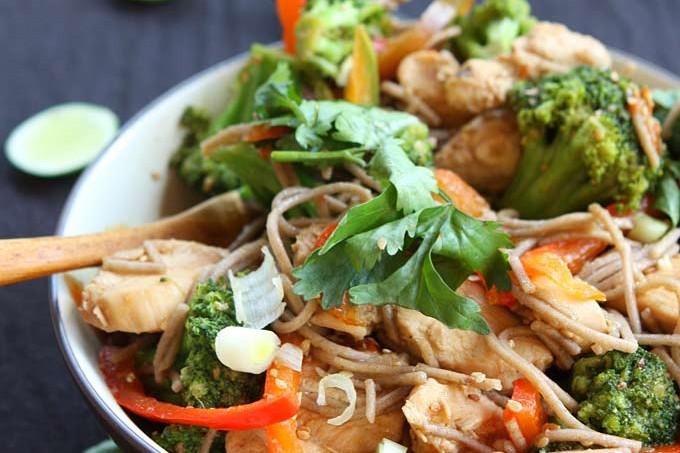 Sesame Chicken Soba Noodle Stir Fry