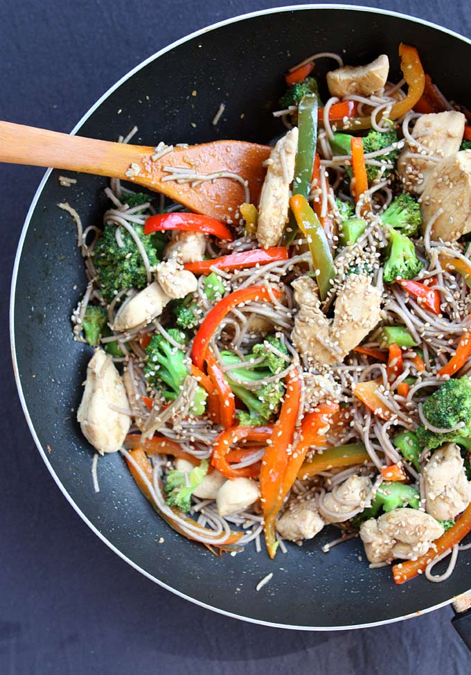 Sesame Chicken Soba Noodle Stir Fry | thekitchenpaper.com