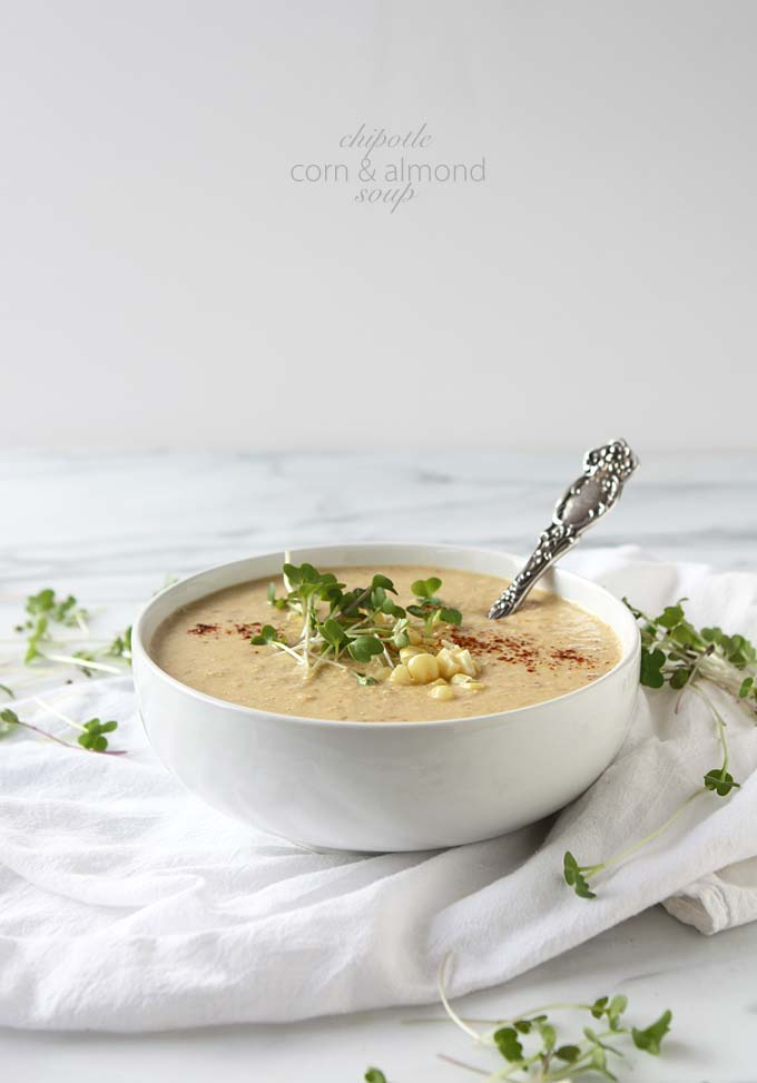 Chipotle Corn Almond Soup | thekitchenpaper.com