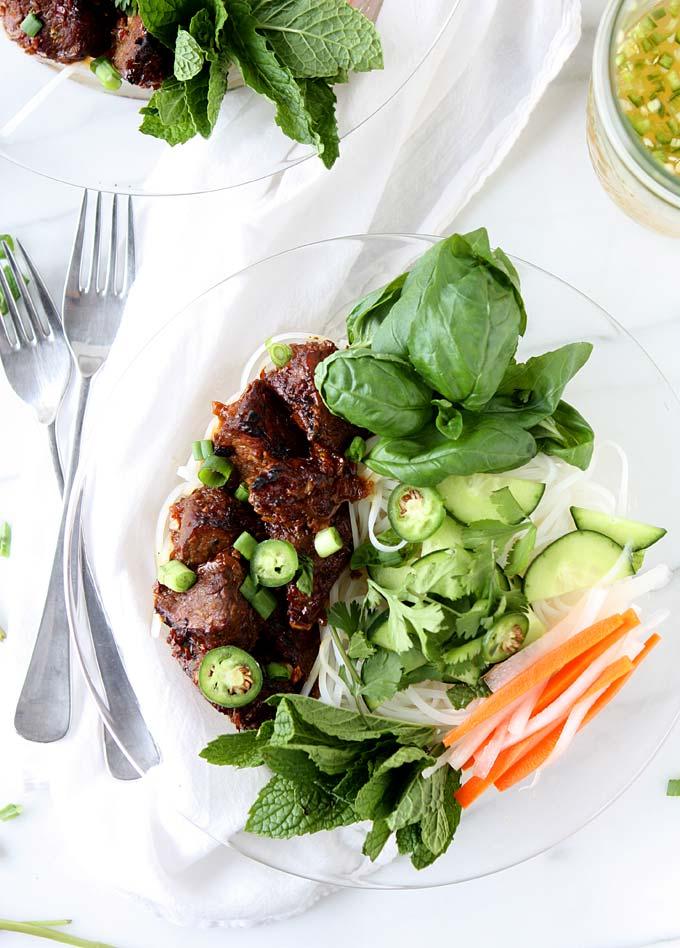 Vietnamese Sticky Pork Noodles (Bún Thịt Nướng) | thekitchenpaper.com