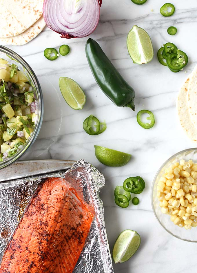 Chili-Lime Salmon Tacos with Pineapple-Basil Salsa | thekitchenpaper.com