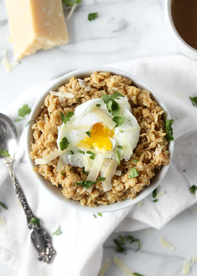 Savory Parmesan Oats with Poached Egg | thekitchenpaper.com
