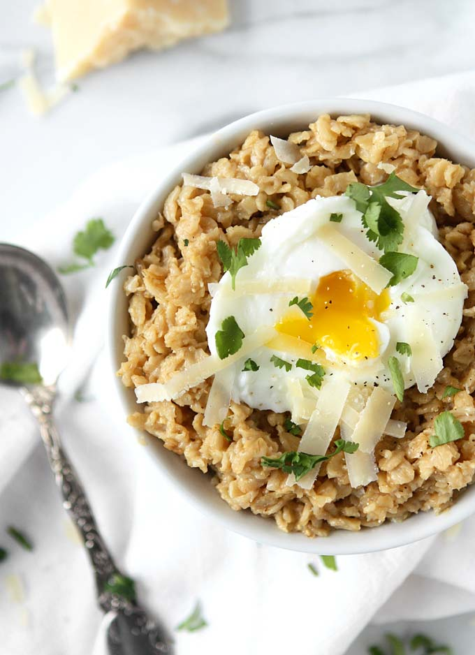 Savory Parmesan Oats with Poached Egg