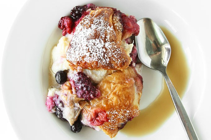Mixed Berry Croissant Pudding with Whiskey Butter Sauce