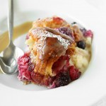 Mixed Berry Croissant Pudding with Whiskey Butter Sauce | thekitchenpaper.com
