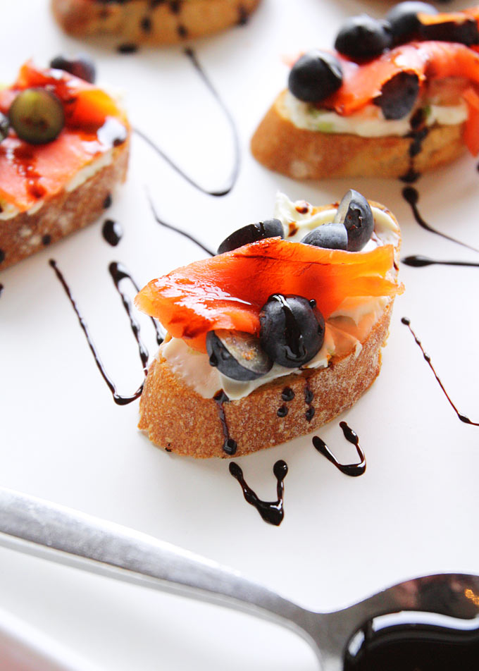 Smoked Salmon Blueberry Crostini
