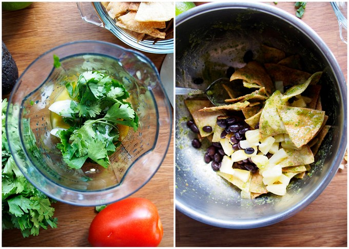 Green Chile Pineapple Black Bean Chilaquiles for One | thekitchenpaper.com