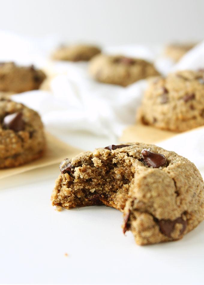 Salted Chocolate Chunk Oat Flour Cookies {Gluten-Free} | thekitchenpaper.com
