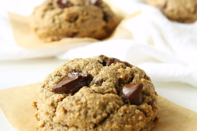 Salted Chocolate Chunk Oat Flour Cookies {Gluten-Free}