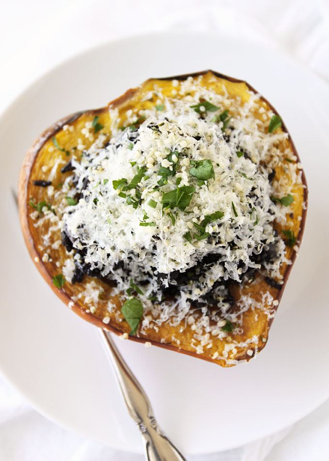 Chorizo, Black Rice, and Hemp Heart Stuffed Acorn Squash | thekitchenpaper.com