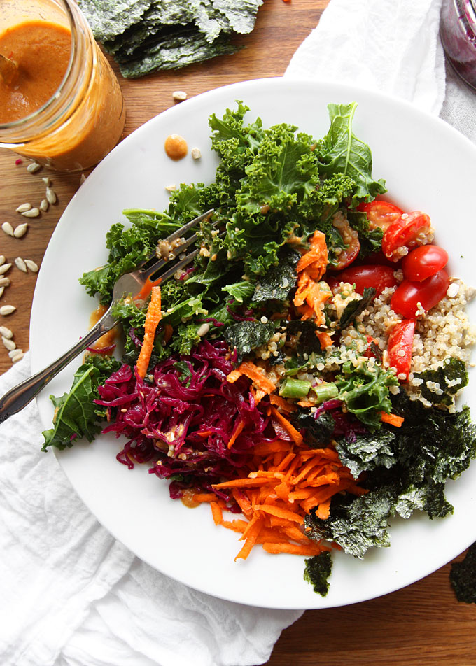 Vegan Kale Quinoa Bowl with Peanut Dressing | thekitchenpaper.com