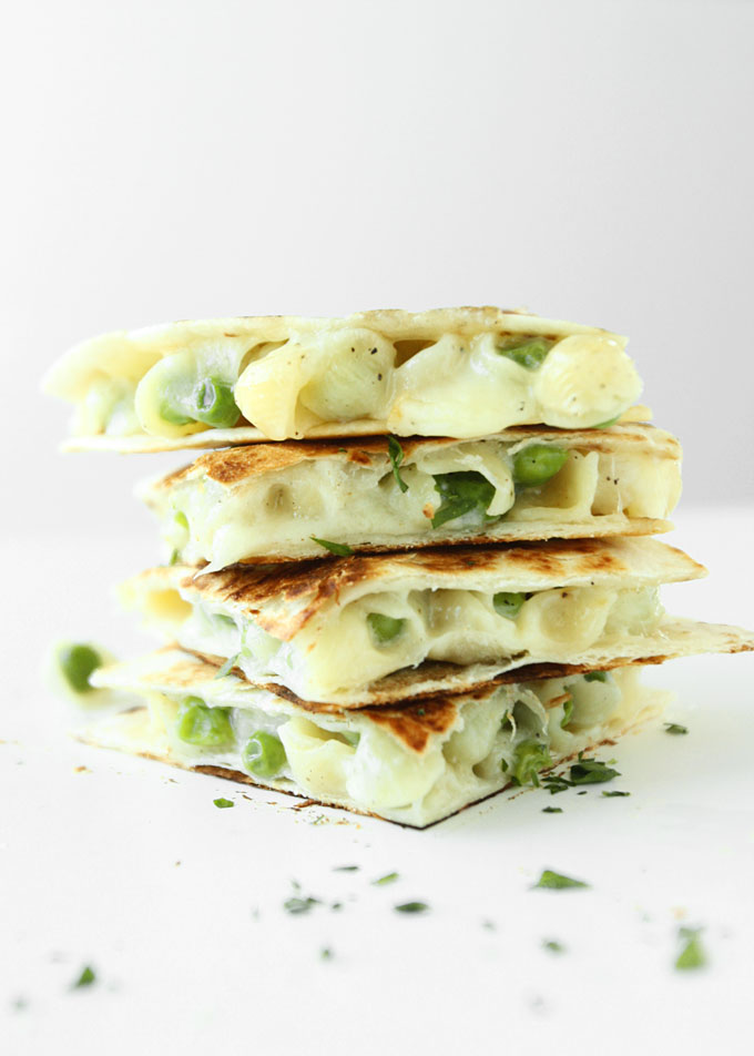 White Cheddar & Peas Macaroni & Cheese Quesadilla