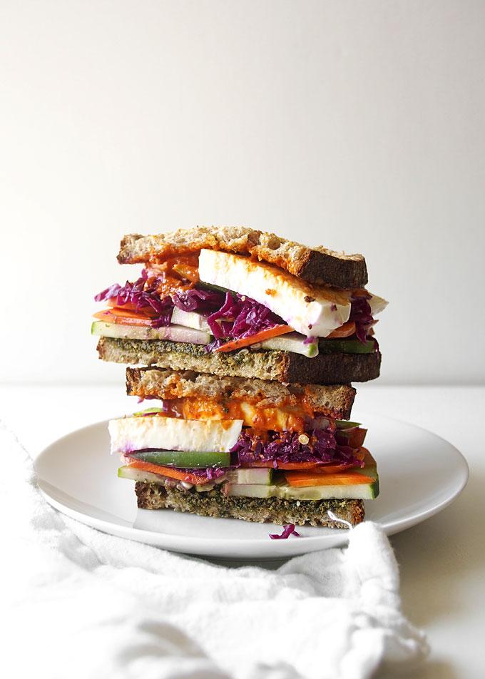 Pesto Mozzarella Sauerkraut Veggie Sandwich