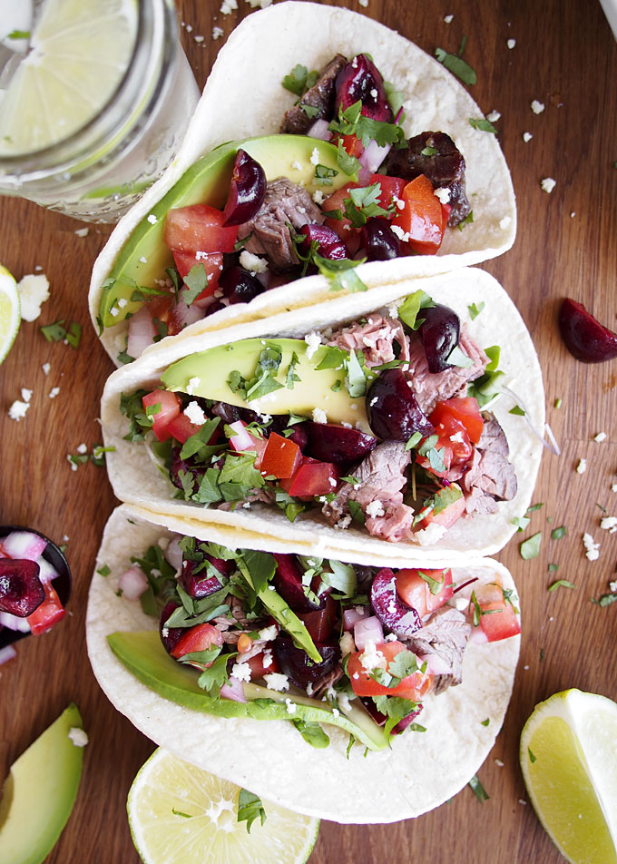 Steak Tacos with Cherry Pico de Gallo | thekitchenpaper.com