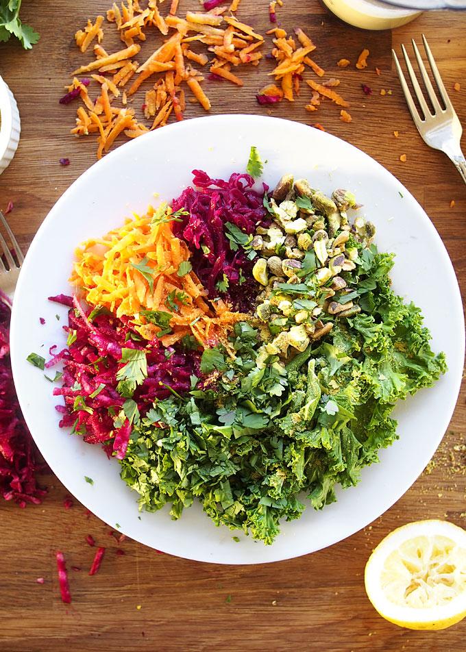 Vegan Bowl with Sauerkraut, Pistachios, and Jalapeño Garlic Tahini Sauce | thekitchenpaper.com
