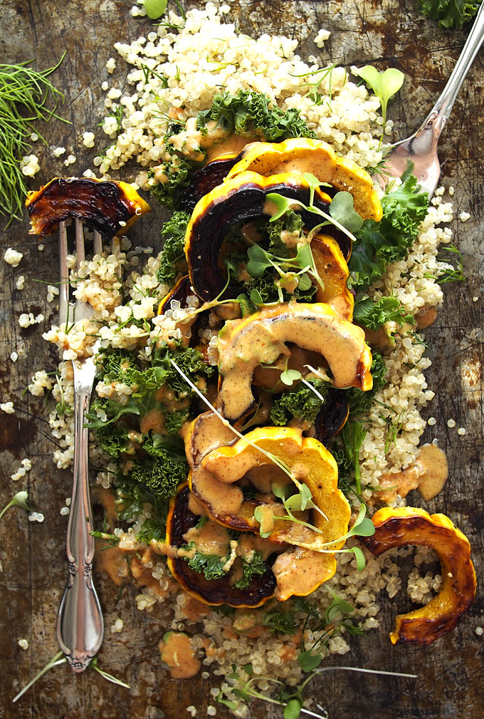 Kale, Delicata, Dill Quinoa Salad with Spicy Almond Butter Dressing | thekitchenpaper.com