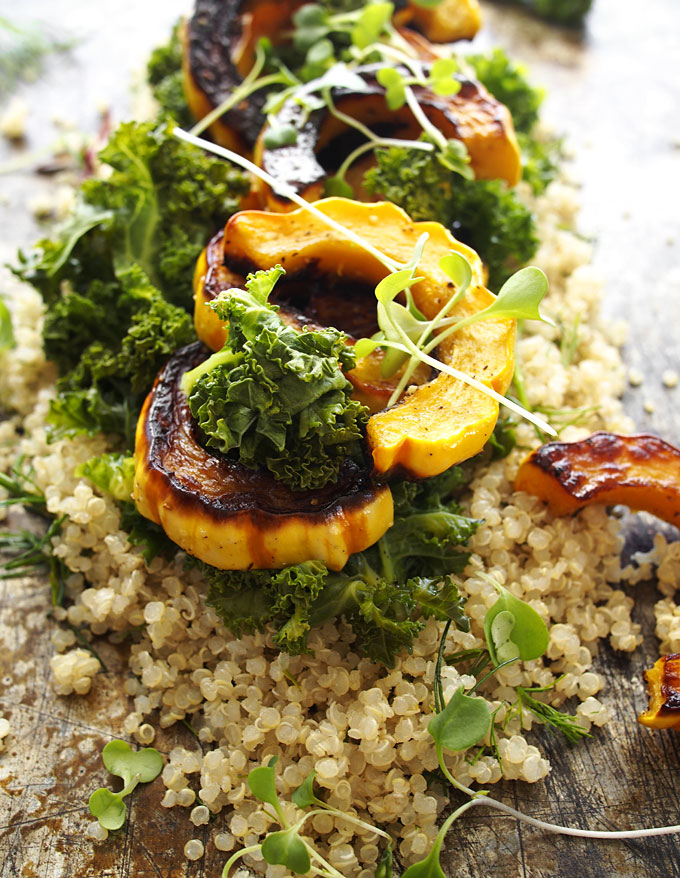 Kale, Delicata, Dill Quinoa Salad with Spicy Almond Butter Dressing