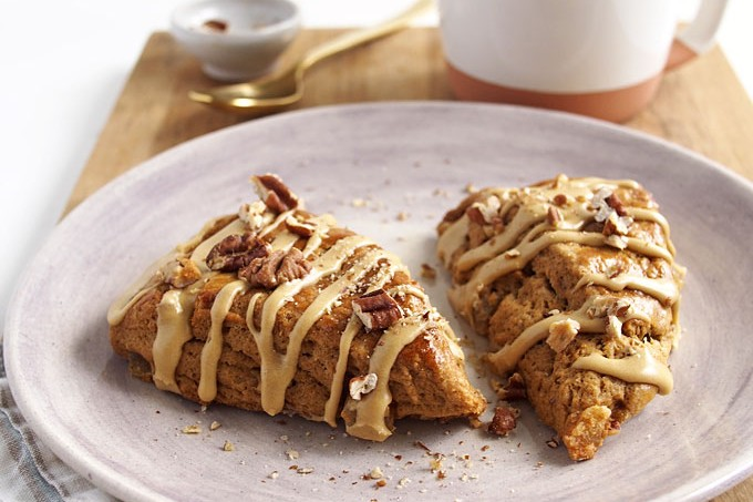 Molasses Scones with Candied Ginger & Pecans