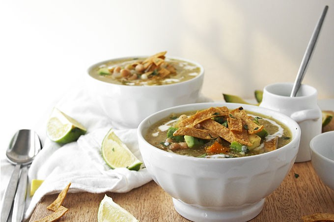 Roasted Tomatillo and White Bean Soup