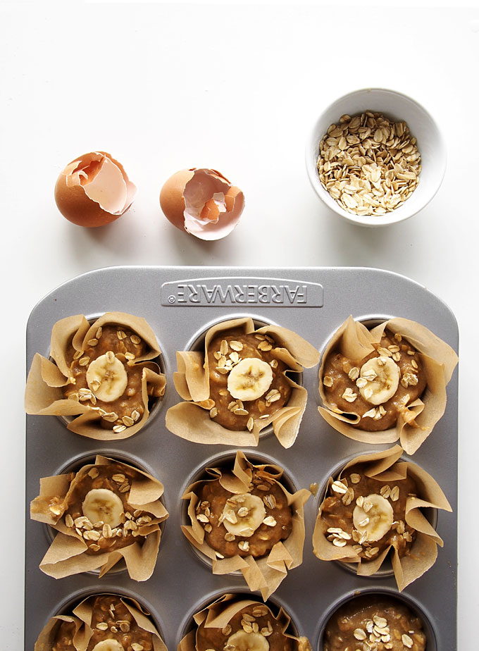 Whole Wheat Banana Oatmeal Muffins | thekitchenpaper.com