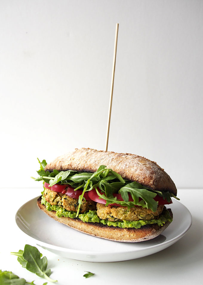 Zucchini Chickpea Cashew Patty Sandwich