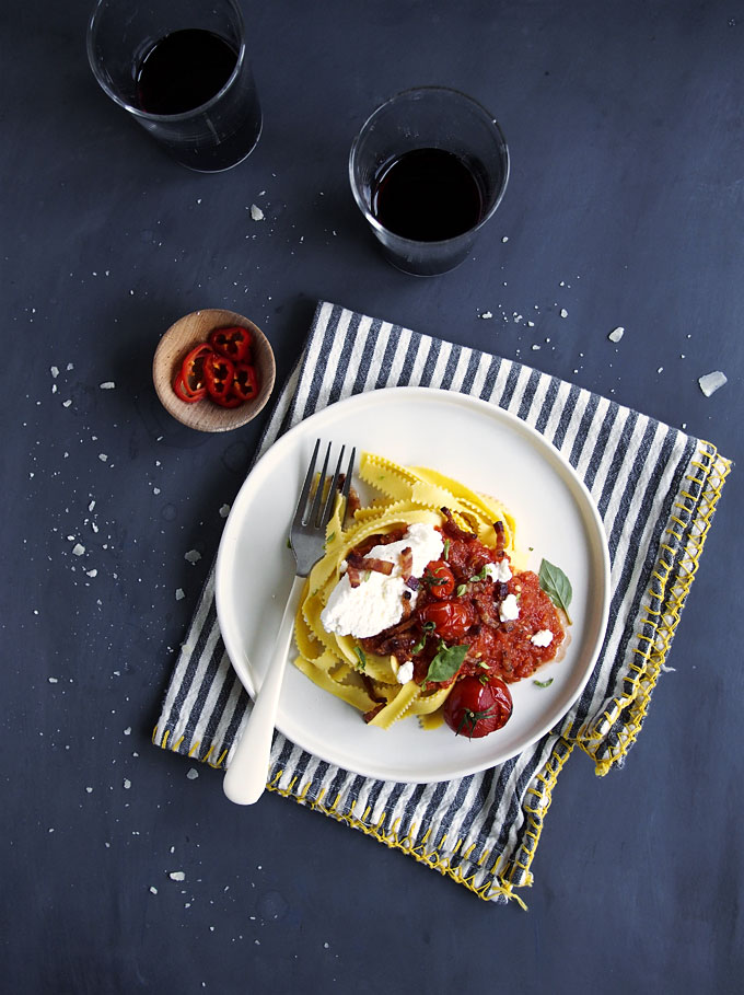 Spicy Fresh Chile, Tomato, & Bacon Pasta with Ricotta | thekitchenpaper.com