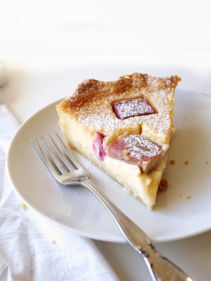Rhubarb Grapefruit Custard Pie