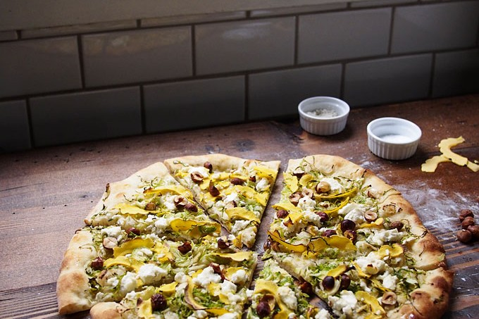 Brussels Sprout & Delicata Pizza with Hazelnuts, Goat Cheese, and Honey
