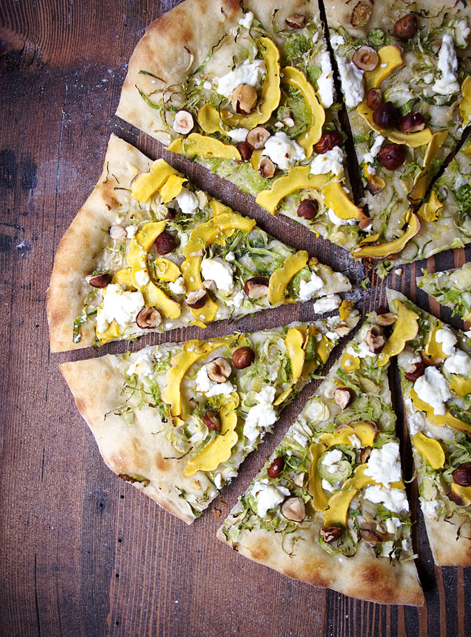 Brussels Sprout & Delicata Pizza with Hazelnuts, Goat Cheese, and Honey | The Kitchen Paper