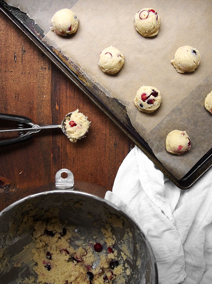 Fresh Cranberry Almond Soft Batch Cookies | The Kitchen Paper