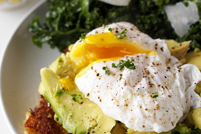 Fried Polenta, Avocado, & Poached Egg Breakfast (plus, KALE!)