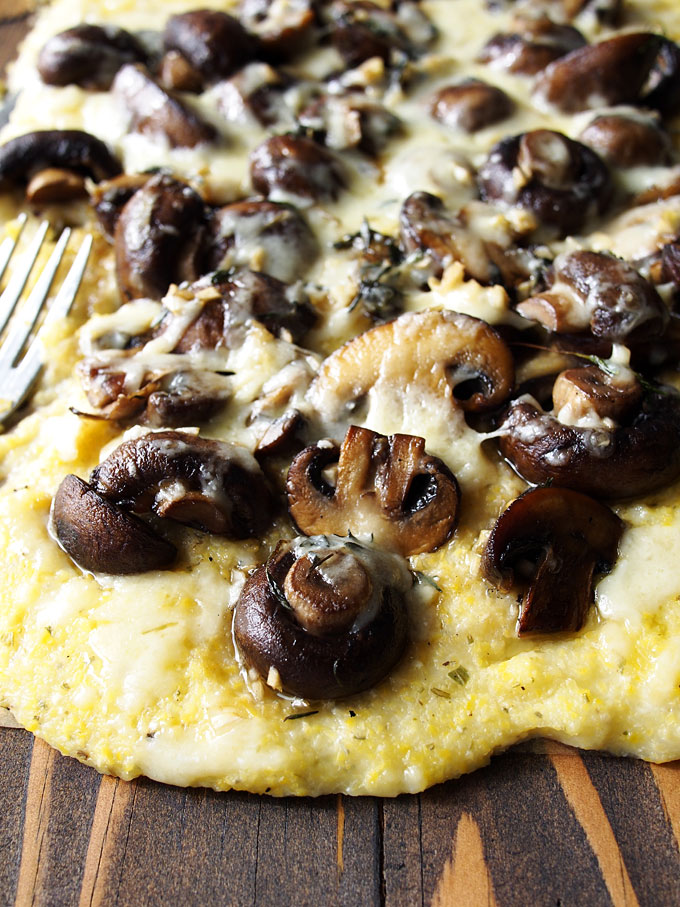 Herbed Mushrooms on Polenta with White Cheddar Recipe | thekitchenpaper.com