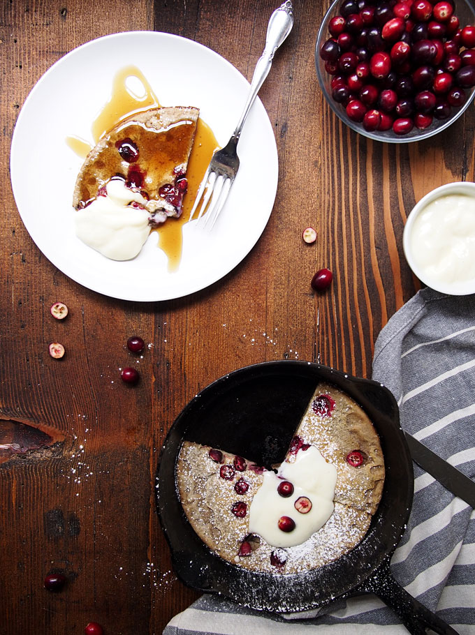 Cranberry Buckwheat Dutch Baby for One