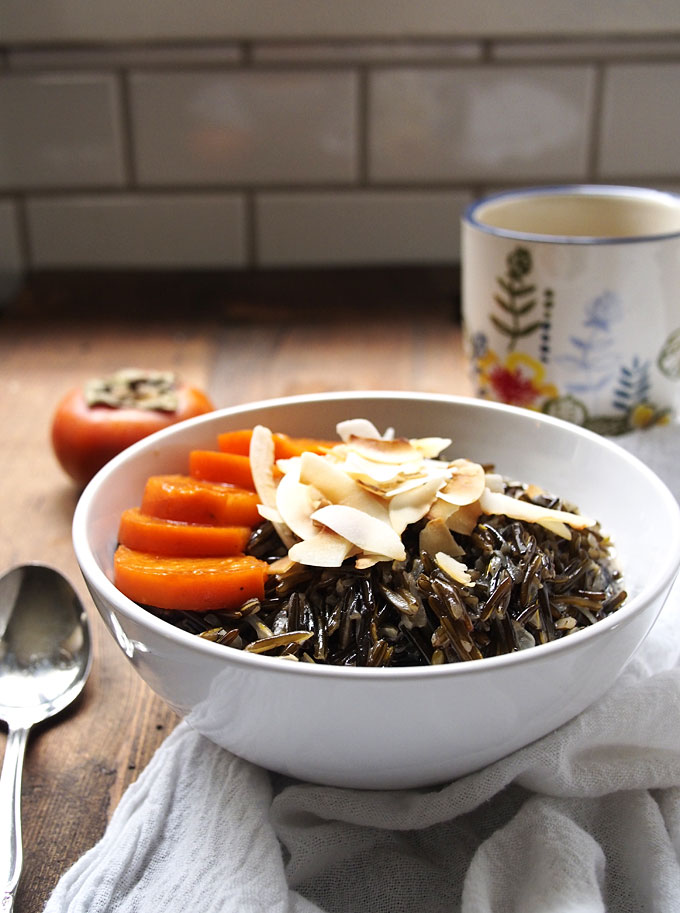 Toasted Coconut Wild Rice Porridge with Persimmons