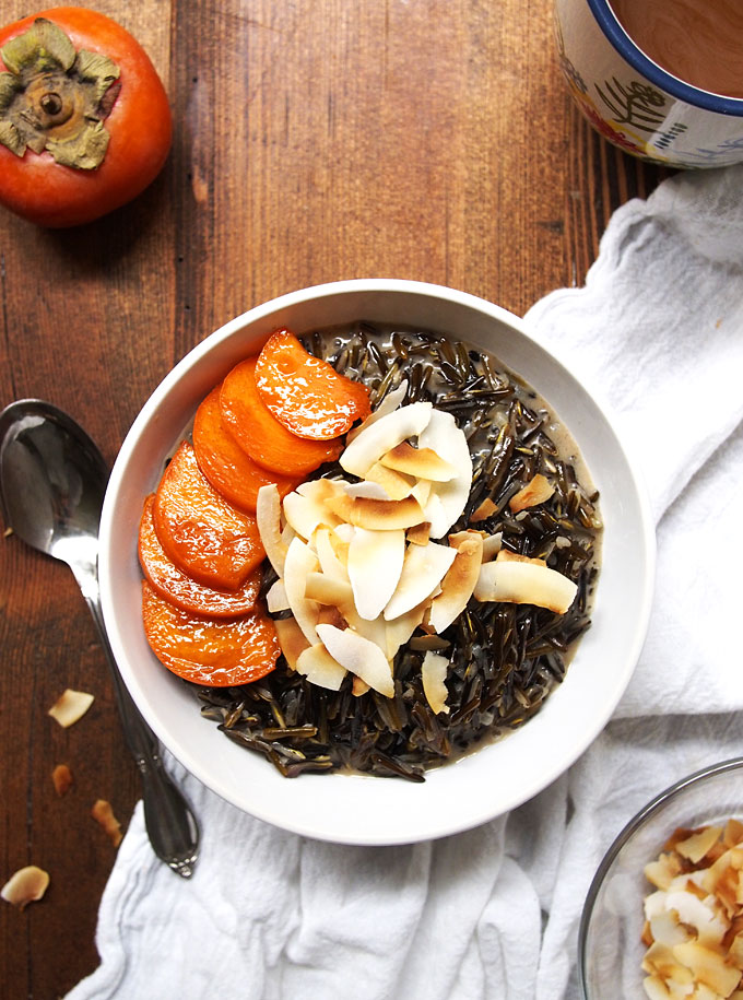 Toasted Coconut Wild Rice Porridge with Persimmons | The Kitchen Paper