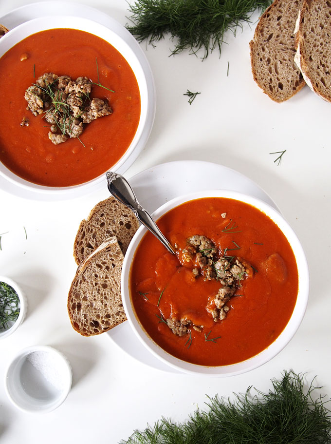Tomato Sausage Fennel Soup | The Kitchen Paper