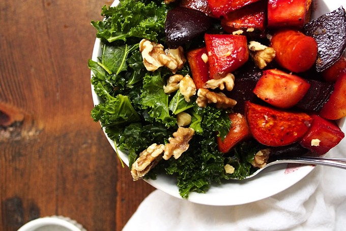 Maple Roasted Root Vegetables with Kale & Walnuts