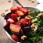 Maple Roasted Root Vegetables with Kale & Walnuts | thekitchenpaper.com