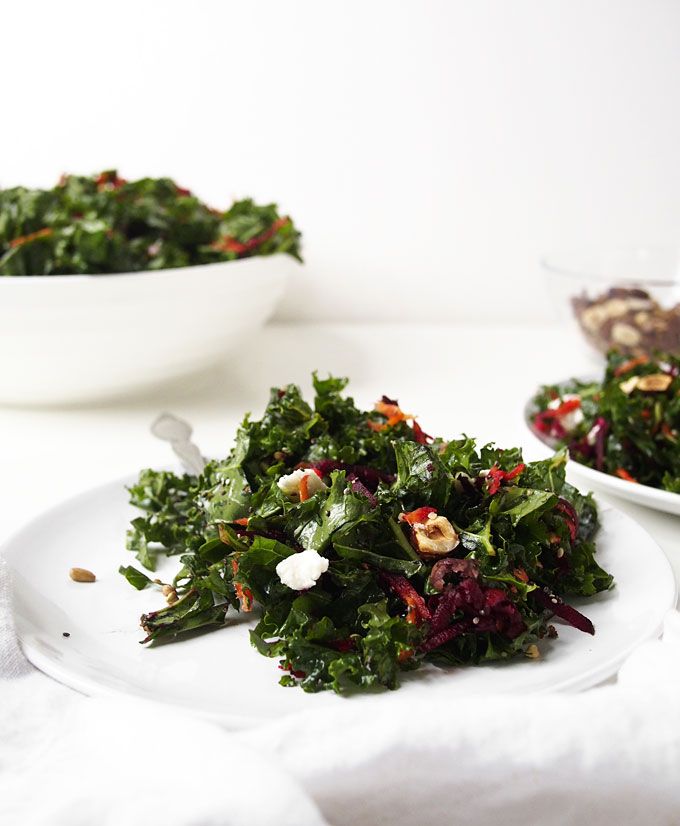 Northwest Kale Salad with Goat Cheese and Hazelnuts | The Kitchen Paper